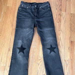 JCREW charcoal wash denim jeans with star knees